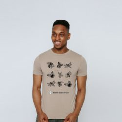 Man wearing insect t-shirt